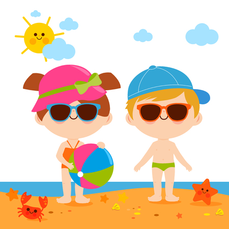 A boy and a girl with swimsuits at the beach, wearing hats and sunglasses and playing with a beach ball. Vector illustration. Stock Vector - 124171638