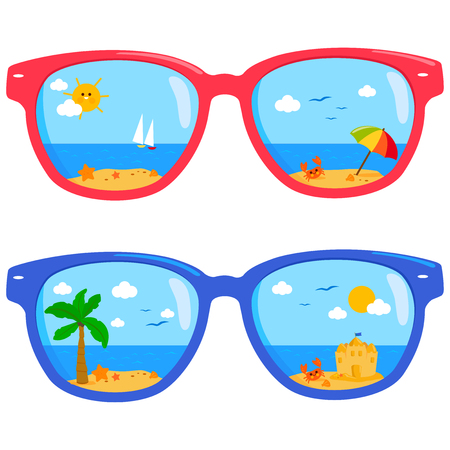Tropical summer beach scene reflected in colorful sunglasses. Vector illustration.