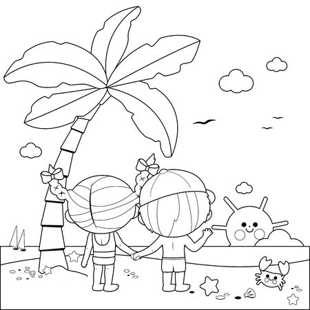 Back view of children at the beach under a palm tree. Black and white coloring book page