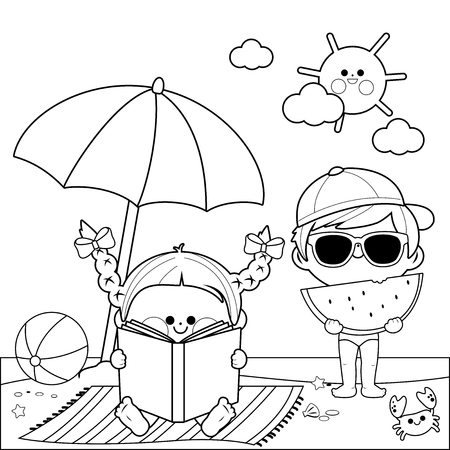 Children at the beach reading a book and eating a slice of watermelon under a beach umbrella. Black and white coloring book page Stock Vector - 124171642