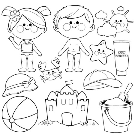 Children with swimsuits and beach summer vacation design elements. Black and white coloring book page Illustration