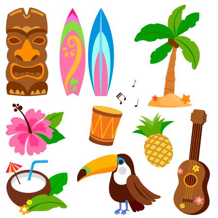Colección de vectores hawaianos con objetos que incluyen un pájaro tucán, una máscara tiki y otros elementos de diseño de vacaciones de verano.
