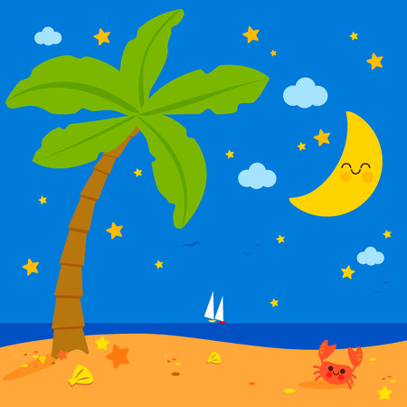 Tropical beach with palm tree at night Stock Vector - 124171646