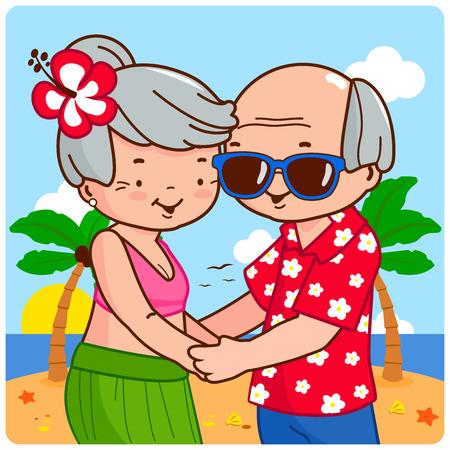 Elderly couple at tropical beach on an island. Vector illustration