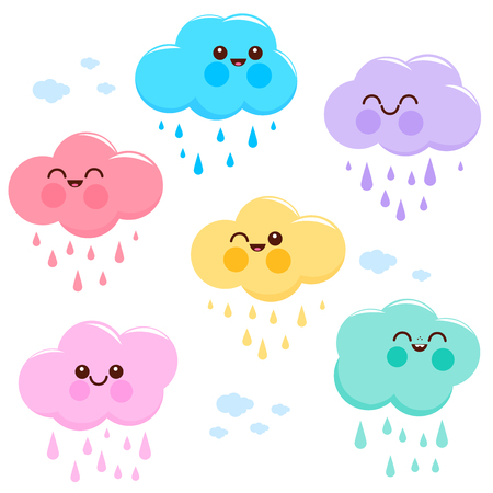 Cute and colorful pastel colored cloud characters and rain. Illustration
