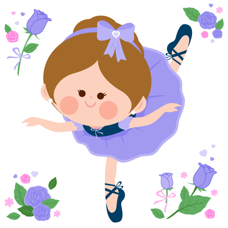 Beautiful ballerina girl in purple dress Stock Vector - 124171651