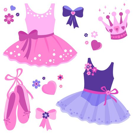 Vector illustration set of cute pink and purple ballerina dancer girl outfits, ballet shoes, ribbons, crown and flowers. Stock Vector - 129299118