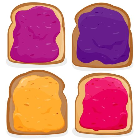 Vector Illustration of slices of bread with different types of jelly.