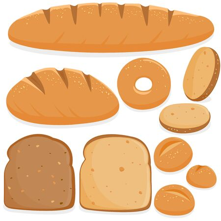 Vector Illustration collection of different types of bread. Illustration