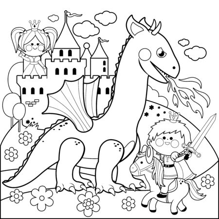 A handsome prince fighting a fire breathing dragon and saving the beautiful princess at the tower. Vector black and white coloring book page