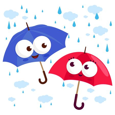 Umbrella characters in the rain. Vector illustration Illustration