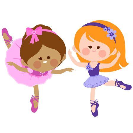 Vector illustration of two cute ballerina dancer girls.