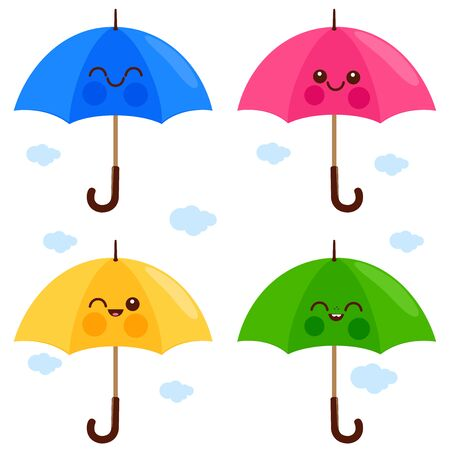 Vector set of cute and colorful umbrella characters. Illustration
