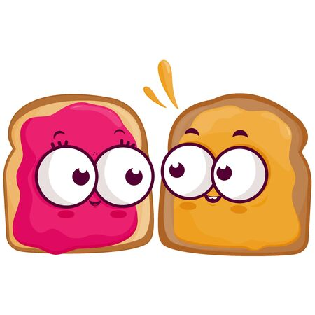 Cartoon slices of bread with peanut butter and jelly.