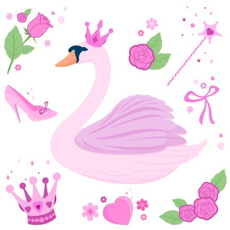 Vector fairytale set with a beautiful pink princess swan, magic wand, tiaras, flowers and ribbons.