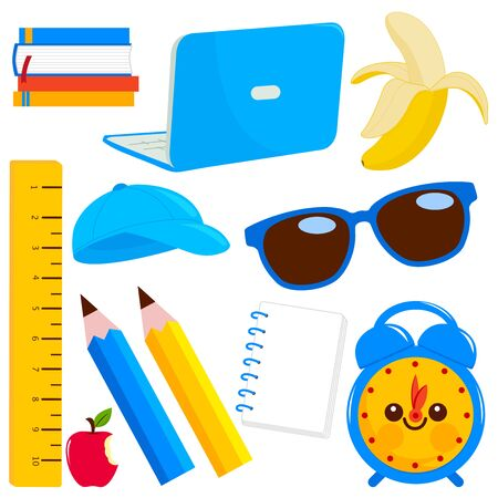 School supplies on white background. Vector illustration Stock Vector - 129299126