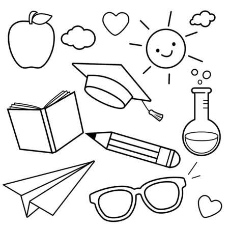 School themed sketch icons. Black and white coloring book page