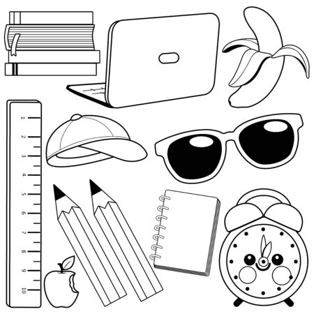 School supplies on white background. Vector black and white illustration Illustration