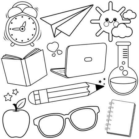 School supplies on white background. Vector black and white illustration Stock Vector - 129299139