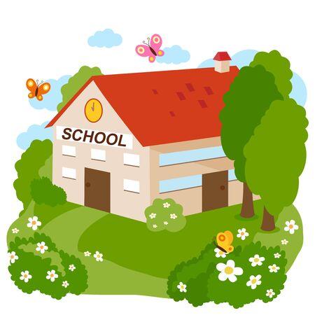 School building.  Vector illustration