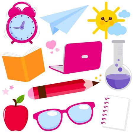 School supplies on white background. Vector illustration