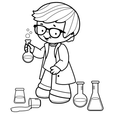 Boy making science experiments. Black and white coloring book page