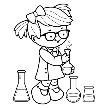 Girl making science experiments. Black and white coloring book page