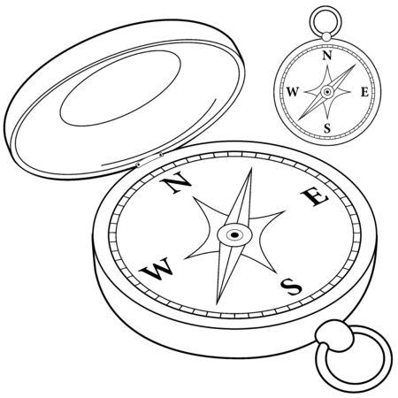 Compass. Vector black and white illustration Illustration