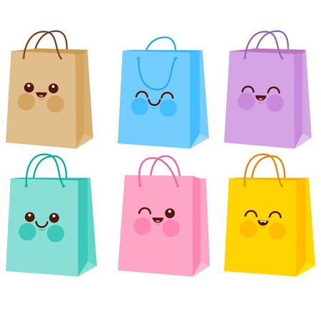 Cute colorful shopping bag characters. Vector illustration Stock Vector - 129299154