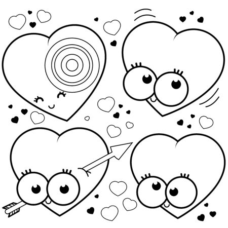 Cartoon hearts. Black and white coloring book page