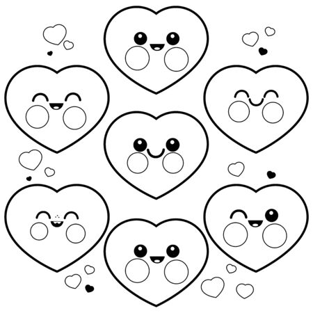 Vector set of cute heart characters. Vector black and white illustration Illustration