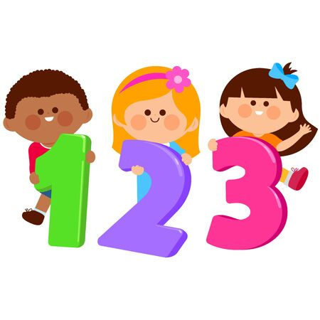 Boys and girls holding cartoon numbers 123. Vector illustration