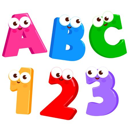 Cartoon Letters ABC and numbers 123 with cute and funny faces. Vector illustration Ilustração