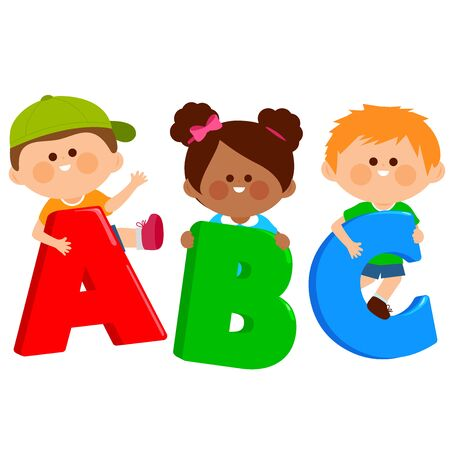 Boys and girls holding cartoon letters ABC. Vector illustration
