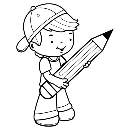 Little boy student holding a big pencil. Black and white coloring page