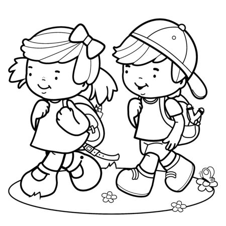 Children walk to school. Black and white coloring page