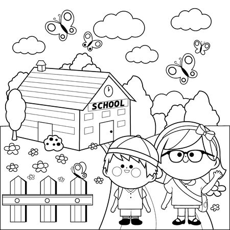 Children at school. Black and white coloring page