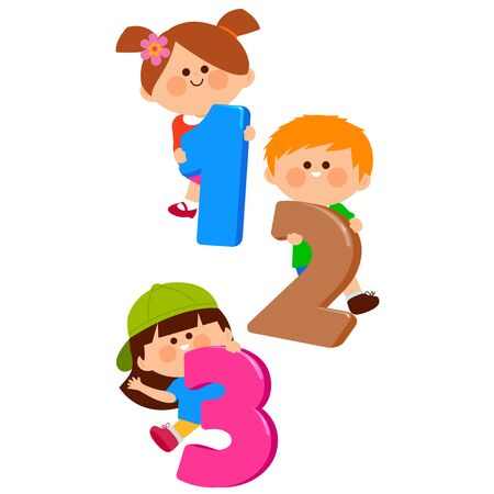 Children holding cartoon colorful numbers.