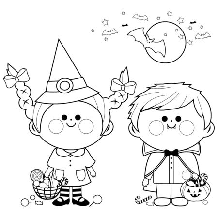 Children dressed in Halloween costumes hold buckets with candy. Black and white coloring page Illustration
