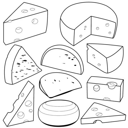 Various types of cheese. Black and white vector outline illustration Иллюстрация