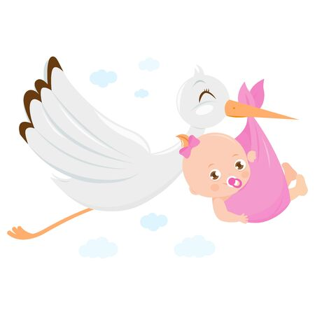 Stork delivering a new baby girl. Vector Illustration