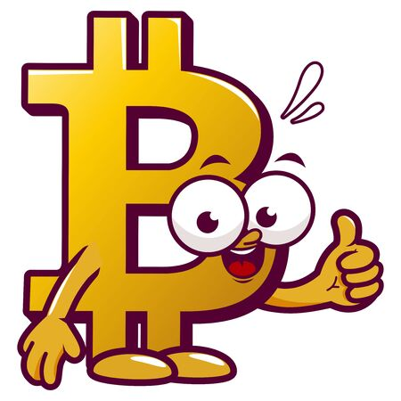 Cartoon bitcoin. Vector Illustration Reklamní fotografie - 132091151