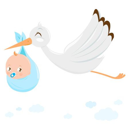 Stork delivering a new baby boy. Vector Illustration