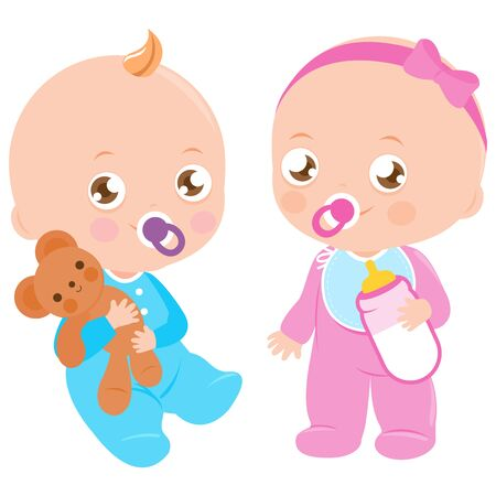 Baby girl with milk bottle and baby boy holding a teddy bear stuffed toy. Vector illustration