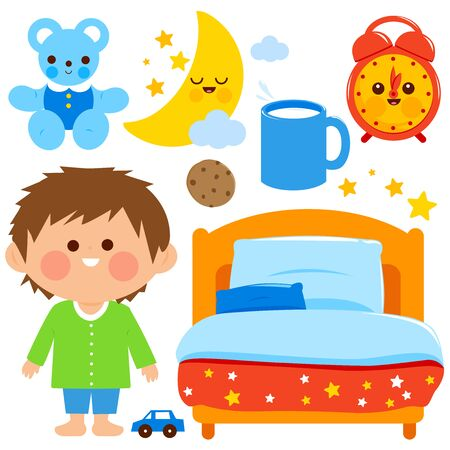 Cute boy getting ready for bed at night. Vector illustration elements