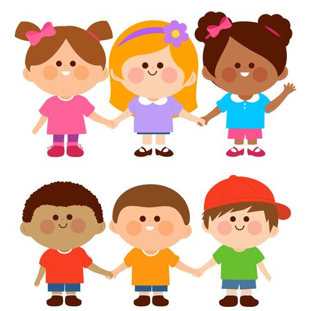 Group of diverse kids standing in a row holdings hands. Vector illustration