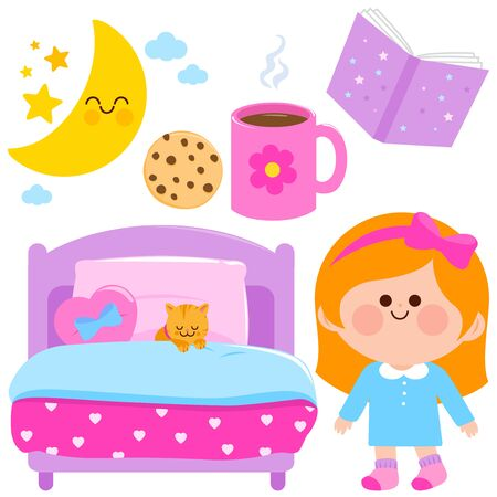 Cute girl getting ready for bed at night. Vector illustration elements