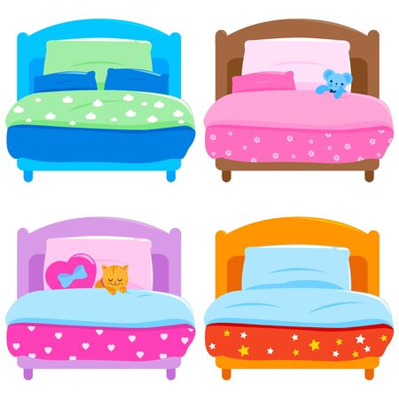 Collection of children's beds with colorful blankets. Vector illustration