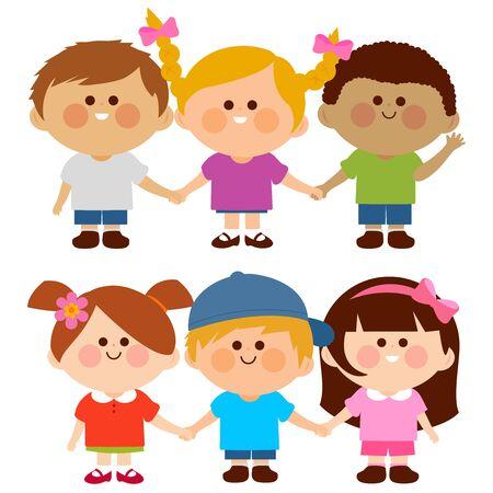 Diverse group of children holding hands. Vector illustration