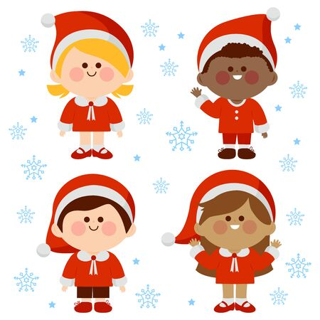Diverse group of children dressed in Christmas Santa Claus costumes. Vector illustration